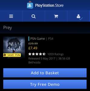 PREY (PS4) for PS+ Members at PS Store
