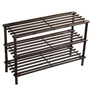 Home Discount 3 Tier Slated Wood Storage Organiser Shoe Stand Rack, Dark Oak at Amazon for £8.95 Prime / £12.44 non Prime