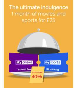 Get 1 month of Sky Cinema & Sky Sports for just £25 (worth £43.98) @ Now TV