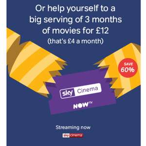 3 months Sky Cinema Pass for £4/month for 3 monthswith code @ NowTv