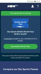 Sky sports mobile 2 months pass,£11.98 / £1.98 after cashback for Lloyd's bank customers at NOW TV