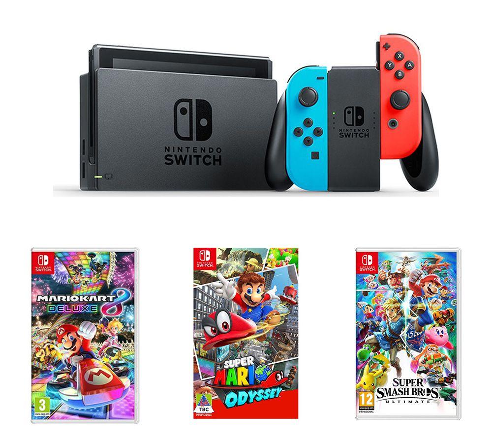 Nintendo Switch Neon, Mario Kart 8, Super Mario Odyssey & Super Smash Bros £334.99 Online & In-store @ Currys