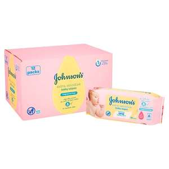 Johnson's Baby Wipes Extra Sensitive (x56) 12 packs for £6.50 @ Tesco