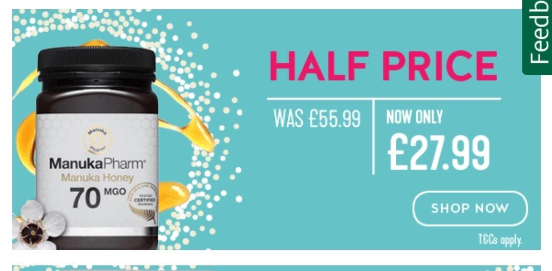 Manuka Honey on half price £27.99 in Holland & Barrett