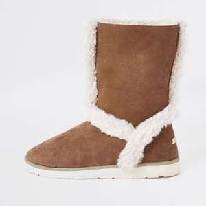 Brown suede faux fur lined boots for £20 Free C&C @ RiverIsland