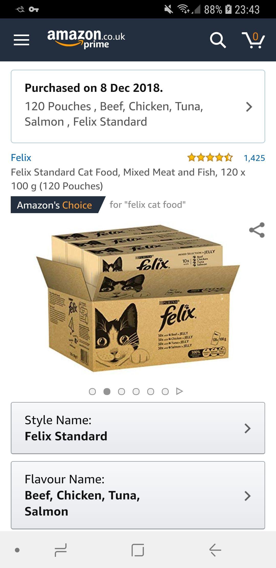 120 Felix cat food (pouch) £23.79 @ Amazon