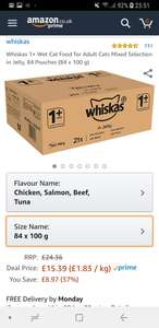 84 Whiskas 1+ Wet Cat Food £15.39 + £4.49 delivery (Non Prime) @ Amazon