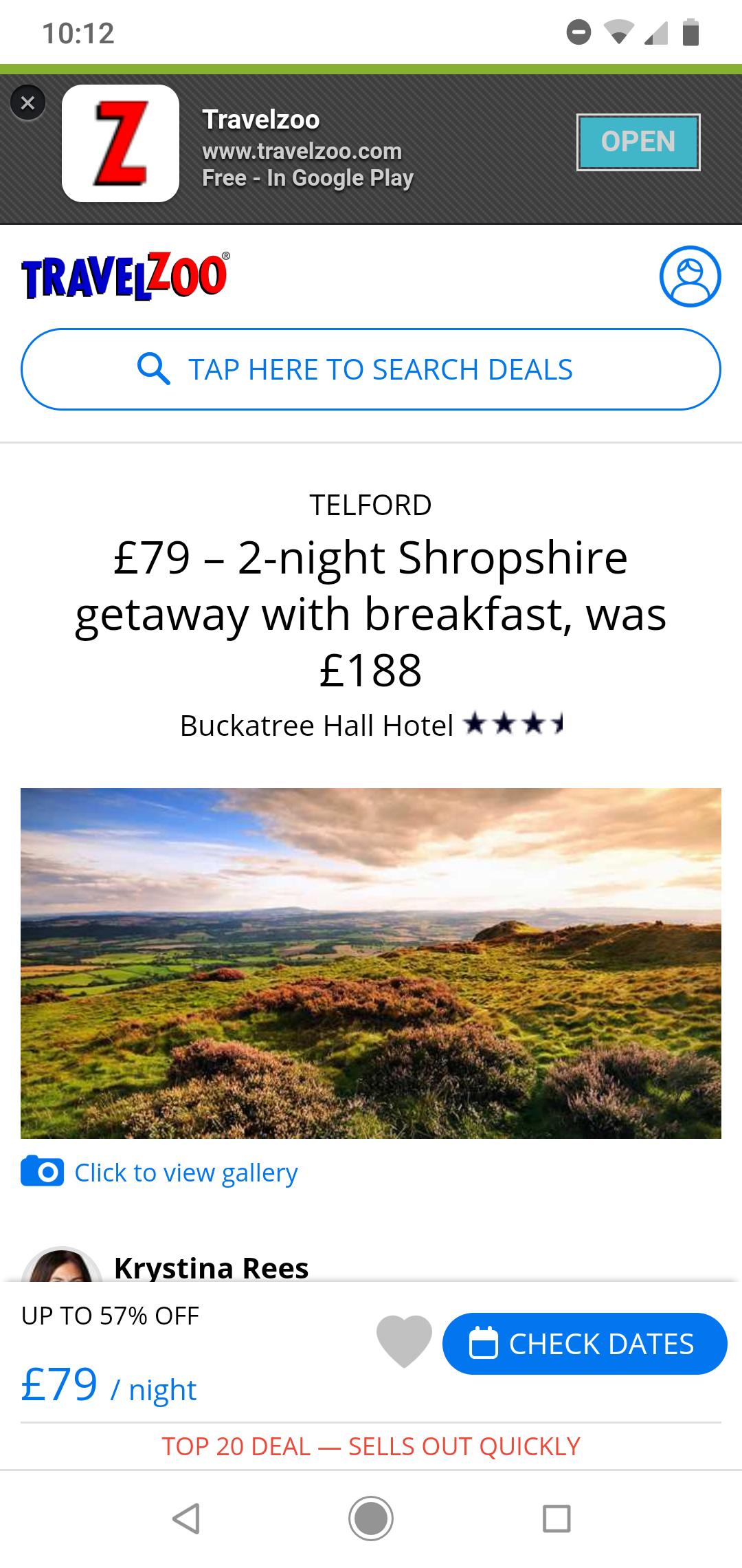 2 night Telford, Shropshire (Wrekin) stay with Breakfast £79 (one 1 night £39) @ Travelzoo