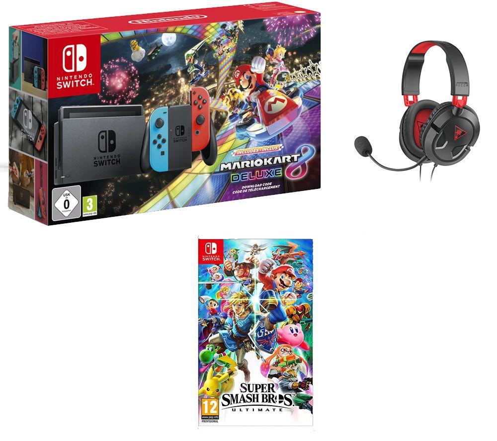 NINTENDO Switch, Mario Kart 8, Super Smash Bros. Ultimate & Turtle Beach Headset Bundle £319.99 @ Currys