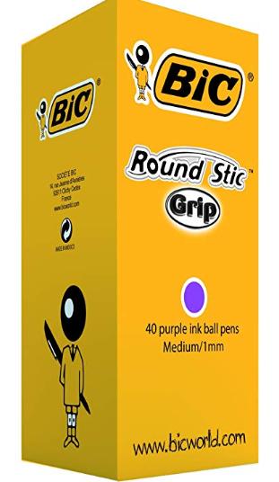 BIC Round Stic Grip Ballpoint Pens Purple 40 Box- £5.72 (Prime) / (Non) £10.21@Amazon