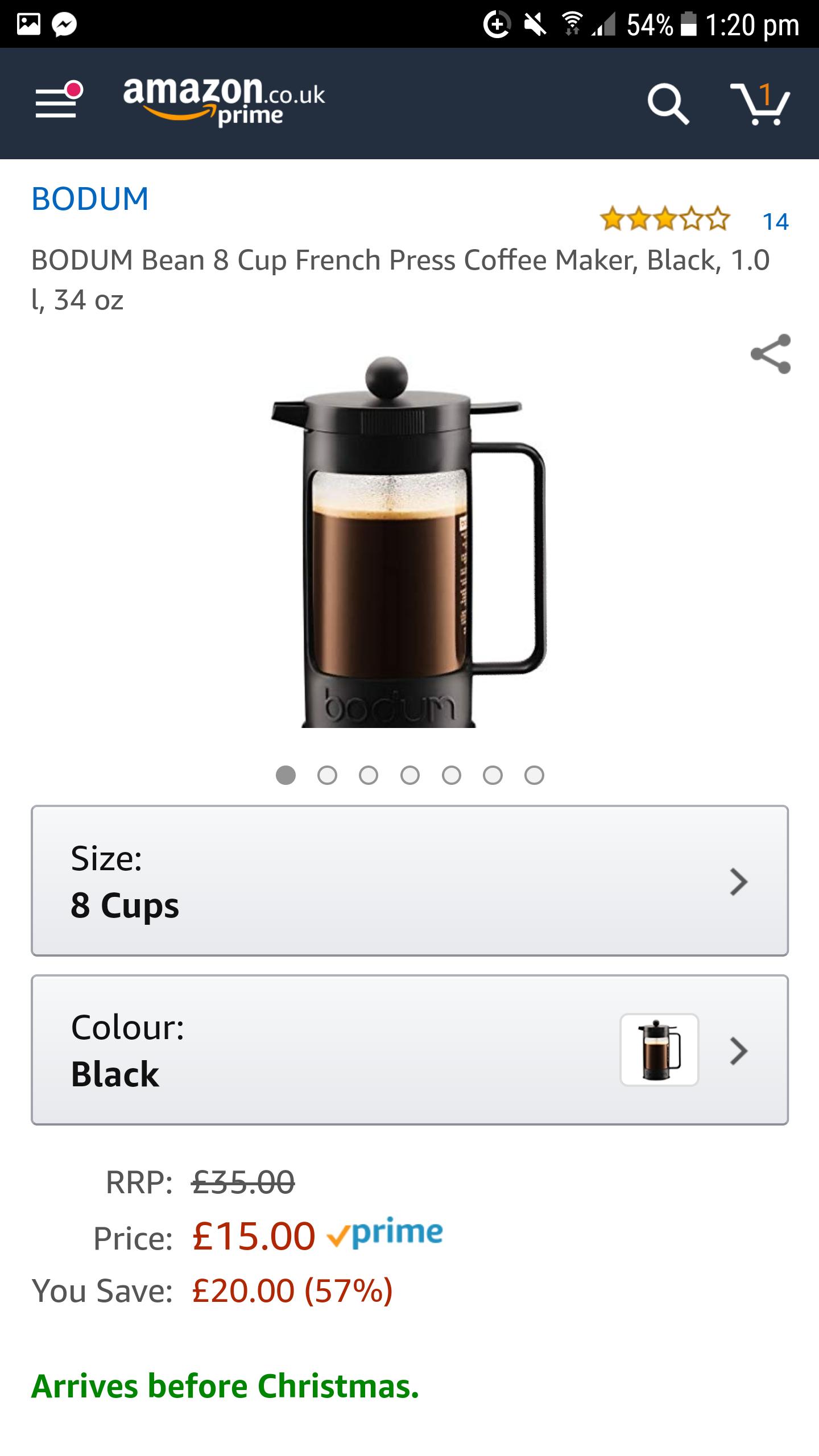 Bodum 8 Cup French Press Coffee Maker £15 prime / £19.49 non prime @ Amazon