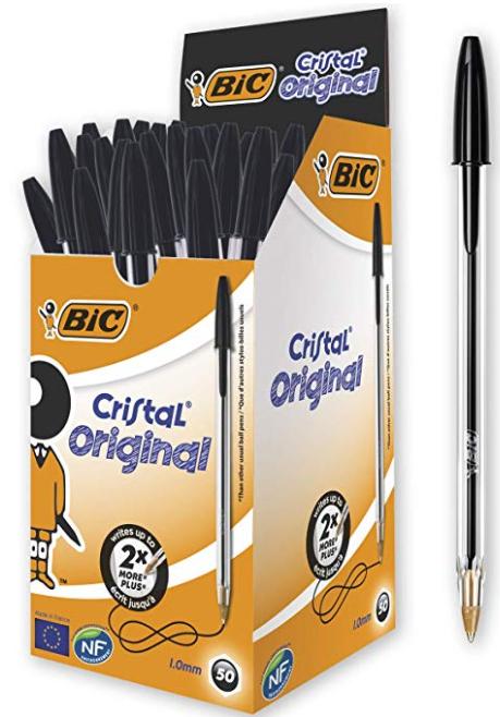 Bic 837363 Cristal Medium Ballpoint Pen - Black (Pack of 50) - £6.47 (Prime) / (Non) £10.96 @ Amazon