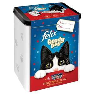 Felix Christmas Goody Tin with 5 packs of Cat Treats - £3.99 @ B&M stores