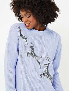 Blue Chenille Sequin Stag Christmas Jumper, George Asda- ready for flamedeer £10