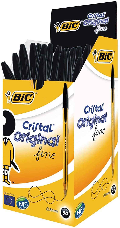 BIC Cristal Original Fine Ball Pens Fine Point (0.8 mm) - Black, Box of 50 £8.45 @ Amazon