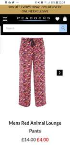 Mens animal lounge pants at Peacocks for £4 + 99p delivery