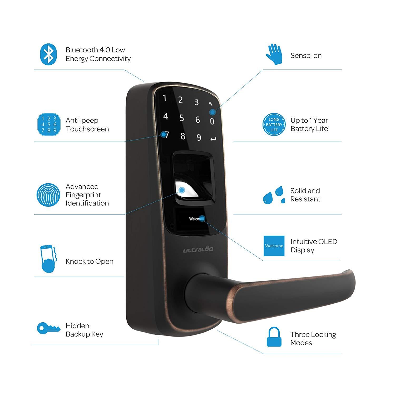 Ultraloq UL3 BT Bluetooth Enabled Fingerprint and Touchscreen Keyless Smart Door Lock (Aged Bronze) £133.52 (RRP £192.73) at Amazon