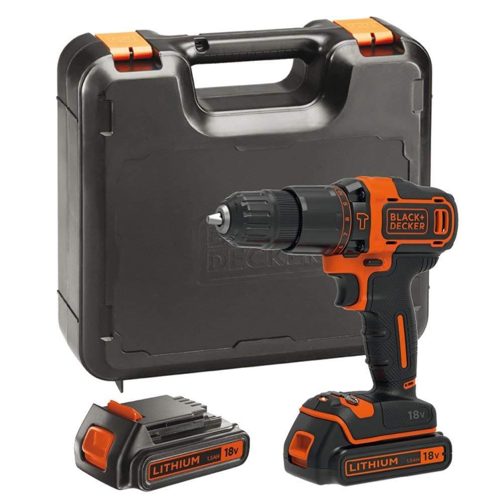 BLACK+DECKER BDCHD18KB-GB 18V Cordless Hammer Drill with Kitbox and 2 Batteries, 18 V, Black/Orange £49.99 at Amazon