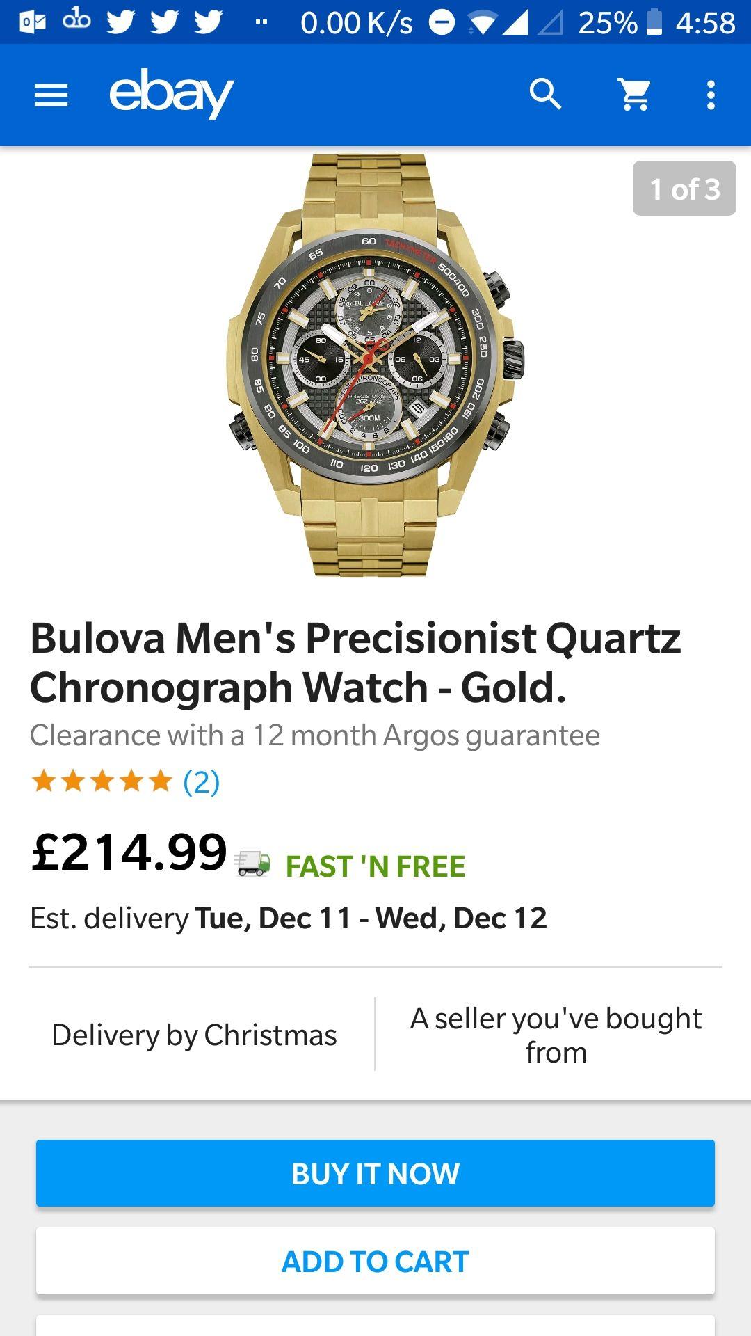 Bulova Men's precisionist  Quartz chronograph watch gold £214.99 - eBay / Argos