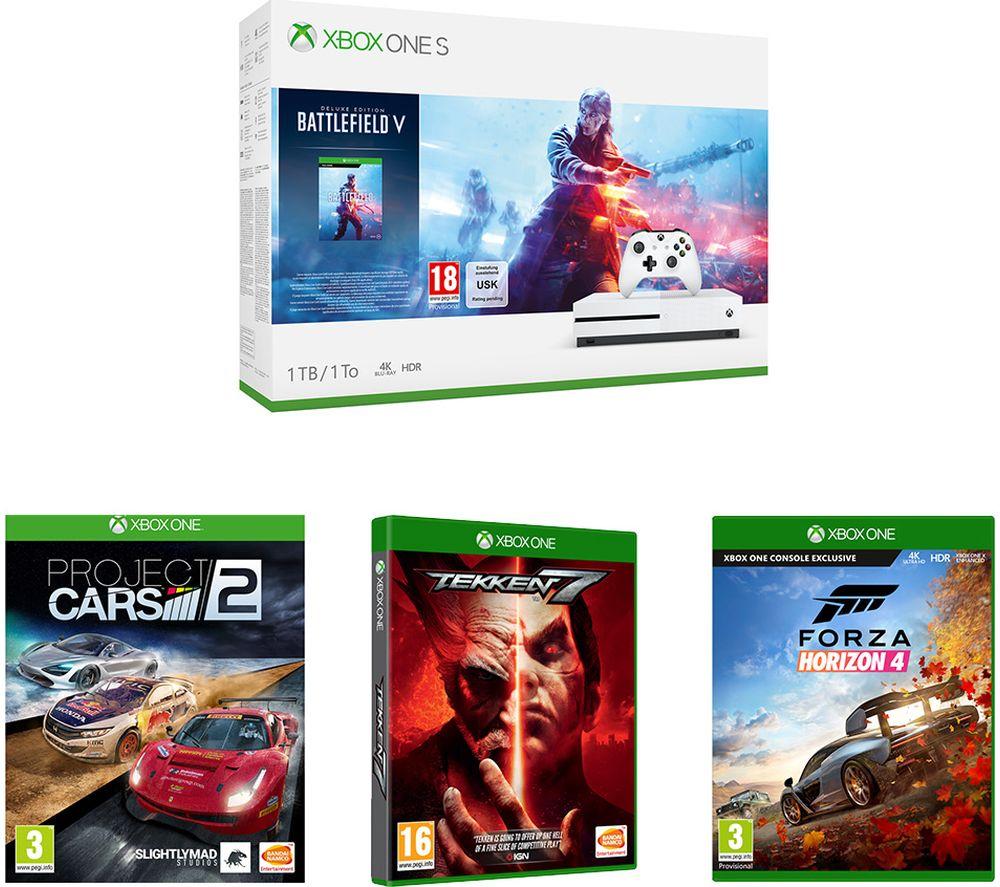 MICROSOFT Xbox One S 1TB, Battlefield V or Tomb Raider or Fortnite, Tekken 7, Forza Horizon 4 & Project Cars 2 £209.98 @ Currys