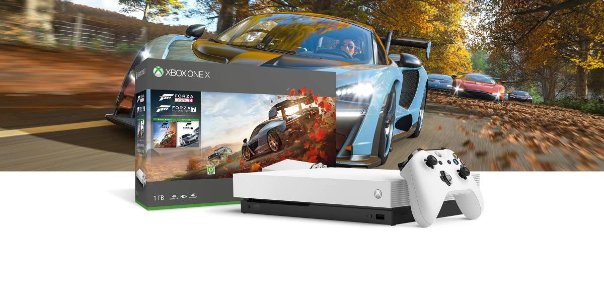Xbox One X (White / Black) + Forza Horizon 4 + Forza 7 + Red Dead Redemption 2 + Gears of War 4 £368 @ Microsoft Store (Via CDKeys)