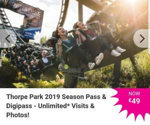 £49 Thorpe Park 2019 Season Pass & Digipass - Unlimited* Visits & Photos!