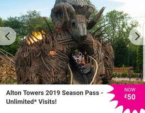 £50 Alton Towers 2019 Season Pass - Unlimited Visits @ Wowcher