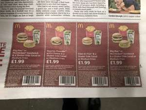 McDonald's burger and fries £1.99 with coupon Big Mac etc in todays Metro newspaper