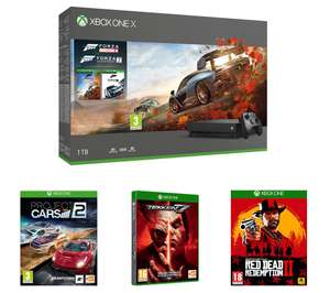 MICROSOFT Xbox One X, Forza Horizon 4, Forza Motorsport 7, Red Dead Redemption 2 (or Fifa 19), Tekken 7 & Project Cars 2 £399 @ Currys