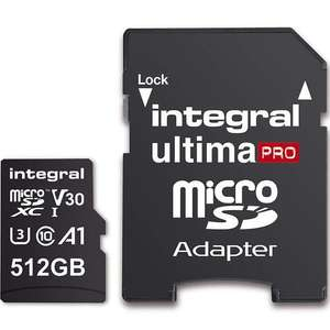 Integral 512GB UltimaPRO V30 Premium Micro SD Card (SDXC) UHS-I U3 + Adapter - 100MB/s  For £107. 29 Delivered @ Mymemory