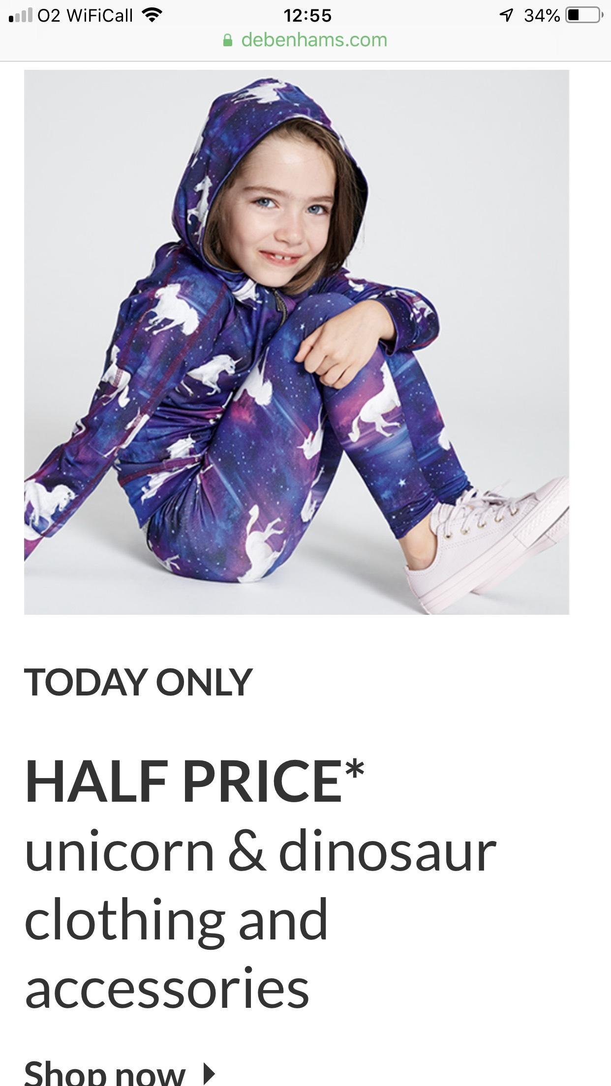 Half price on selected Unicorn and Dinosaur Clothing @ Debenhams + 3% TCB
