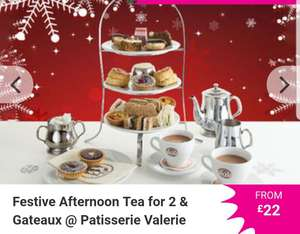 Festive Afternoon Tea for 2 & Gateaux @ Patisserie Valerie via wowcher