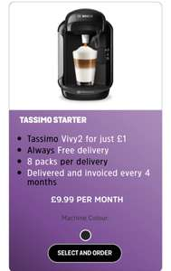 Tassimo Vivy2 - £1, 8 packs of 8/16 discs - £9.99 monthly