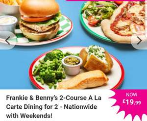 Frankie & Benny's 2-Course A La Carte Dining for 2 - Nationwide with Weekends! £19.99 @ Wowcher