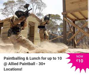 Paintballing & Lunch for up to 10 - Allied Paintball - 30+ Locations! £10 @ Wowcher
