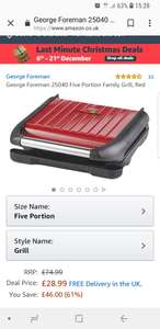 George Foreman 25040 Five Portion Family Grill, Red £74.99 now £28.99 @ Amazon