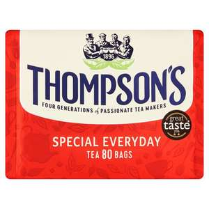 Thompson's Everyday 80 Tea Bags @ Tesco instore and online for £1.25