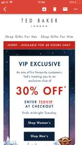 Ted Baker 30% off with code