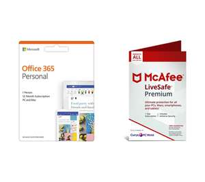 Microsoft Office 365 personal and mcafee livesafe premium 1 year unlimited devices £39 @ Currys