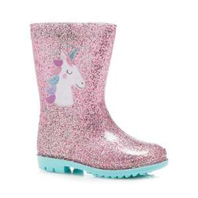 Bluezoo - Kids Unicorn Print Pink Glitter Wellies now £4.00 kids sizes 4, 5, 6, 7 & 8 Available @ Debenhams Free C & C with code