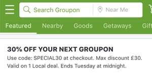 30% OFF Your Next Groupon - local deals including Champneys Spa, Restaurant offers