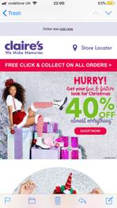 Clairs 40% of almost everything sale and free delivery