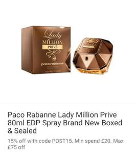 Paco Rabanne Lady million prive 80ml £45.86 @ Ebay - perfume_shop_direct