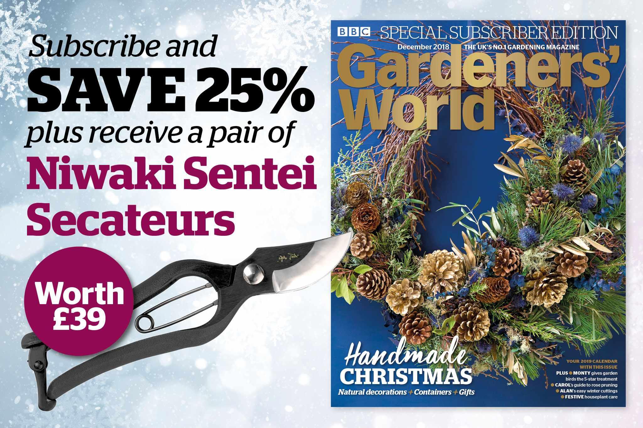BBC Gardeners' World Magazine, £44.99, comes with Niwaki Sentei Secateurs worth £39