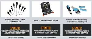 Halfords - Freebies If Buying Halfords Advance Socket Set or 6/8 Drawer Tool Centre
