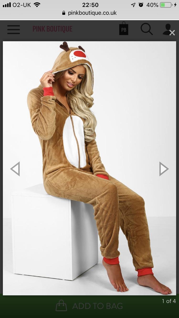 Reindeer cutie tan onesie was £27 now £20 + 2.99 postage or £1.99 c&c asda @ Pink Boutique