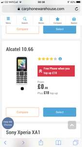 FREE Alcatel 1066 Mobile Phone when you top up £10 @ CPW + Instore or Online with FREE C&C + TCB