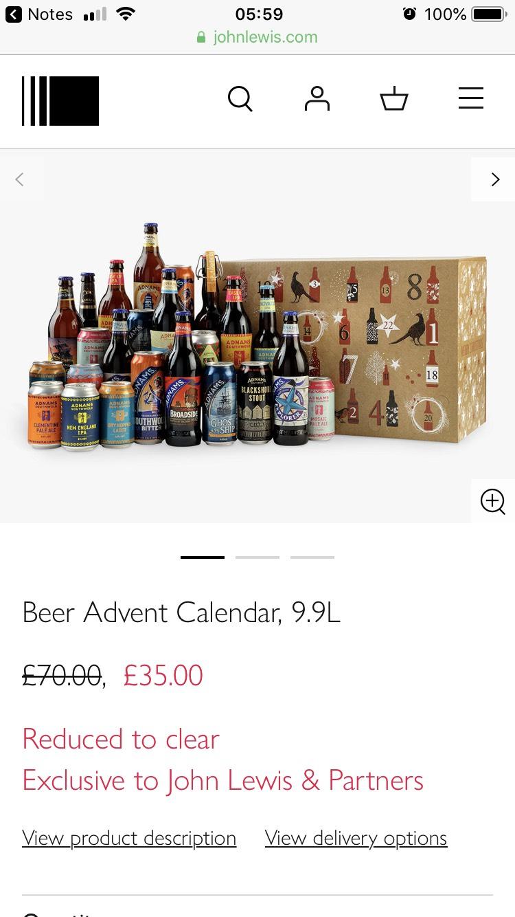 Half price beer advent calendar 9.9L £35 John Lewis & Partners - free c&c