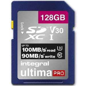 Integral 128GB UltimaPRO V30 Premium SD Card (SDXC) UHS-I U3 - 100MB/s for £17.98 w/c Delivered @ Mymemory
