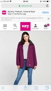 Trespass skyrise jacket reduced from £50 to £22 in grape and £25 in black at Very
